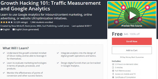 [100% Off] Growth Hacking 101: Traffic Measurement and Google Analytics| Worth 45$
