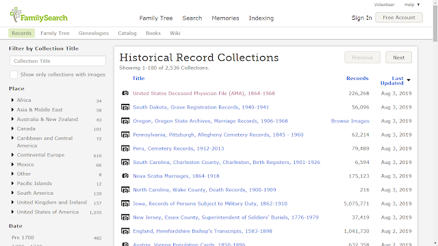 Genea-Musings: Added and Updated Record Collections at