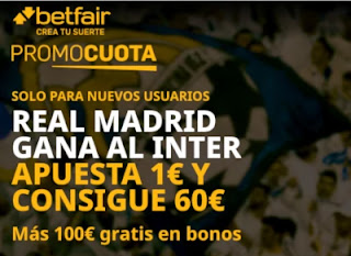 betfair promocuota Real Madrid gana Inter 3-11-2020