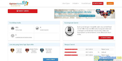 Dasbor akun online survey Opinion World Indonesia | SurveiDibayar.com