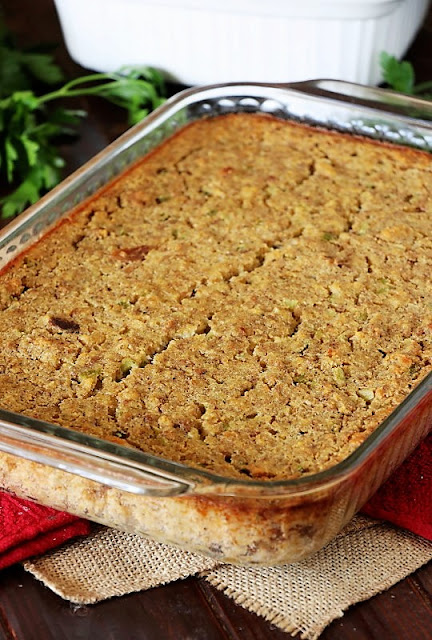 Southern Cornbread Dressing in a Baking Dish Image