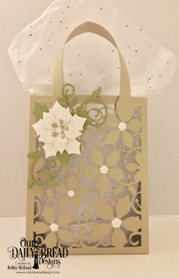 Our Daily Bread Designs Custom Dies: Card Caddy & Gift Bag, Gift Bag Handles & Topper, Foliage & Leaves, Peaceful Poinsettia, Poinsettia Inset