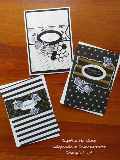 Honey Bee Stampin' Up Black Gold Cards