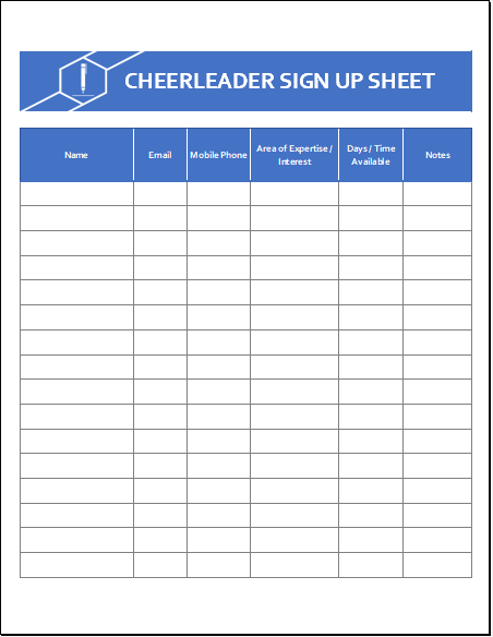 Cheerleader Sign Up Sheet Template Excel XLS Free Download