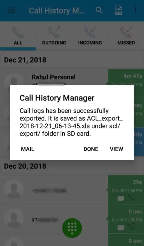 View Call History