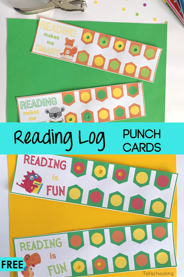 FREE printable reading logs where kids can use a hole puncher to keep track of books. Great way to encourage and motivate young readers!