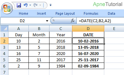 Important Date Functions in Excel in Hindi