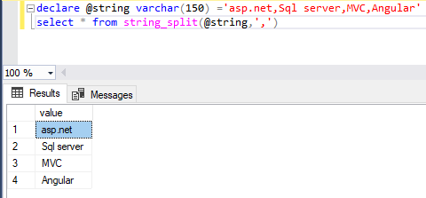 SQL SERVER : Split comma separated string value
