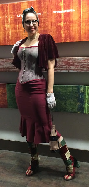Gail Carriegr Wears a Dark Garden Alyscia Corset with Pencil Skirt and Patchwork Boots for WorldCon 2018 in San Jose