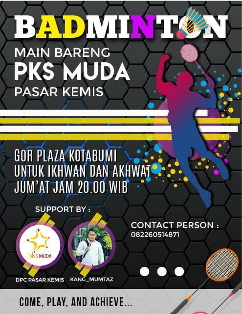 Bermain Badminton Bersama PKS Muda Chapter Pasar Kemis