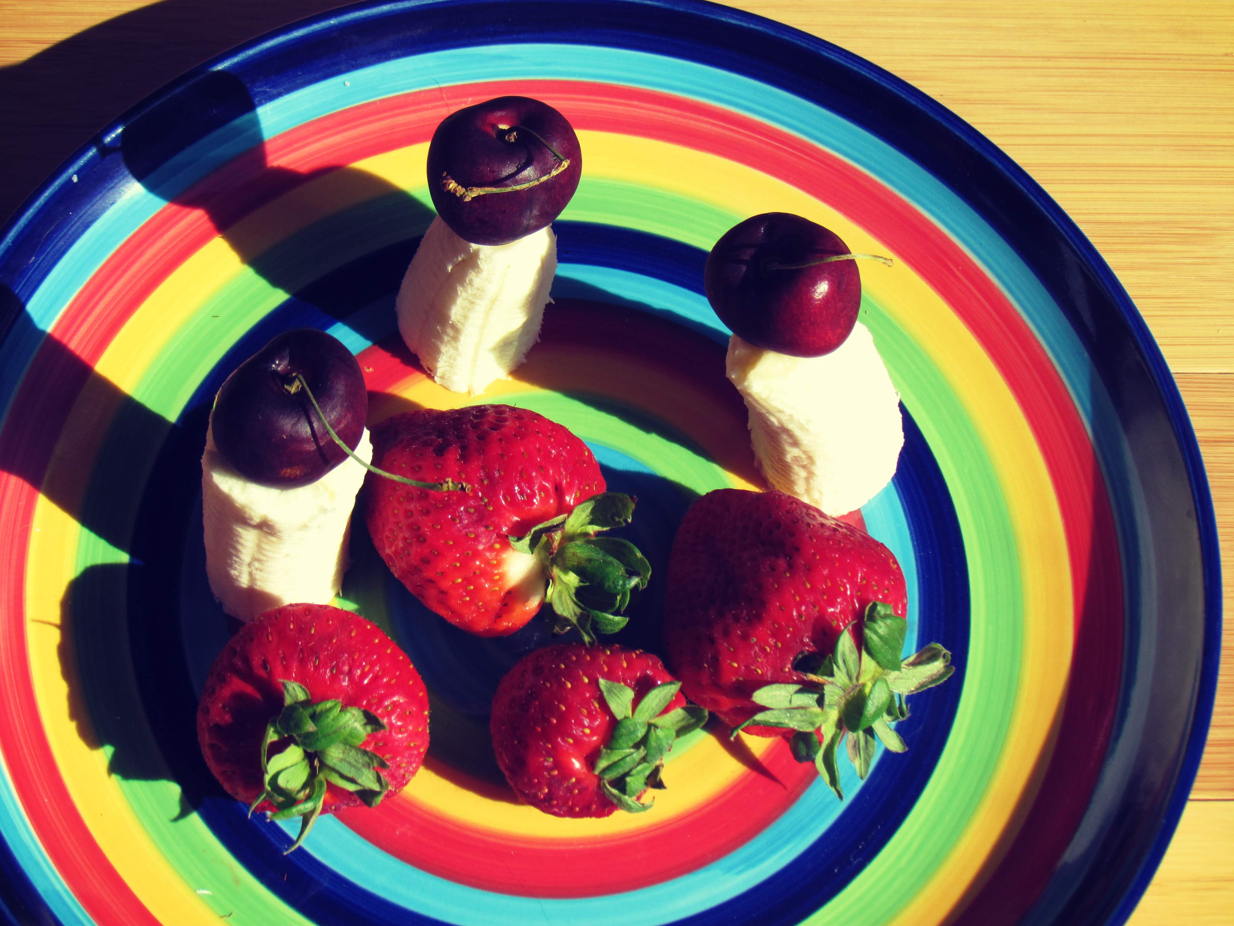 A rainbow plate of raw fruits and vegetables + roughage diet