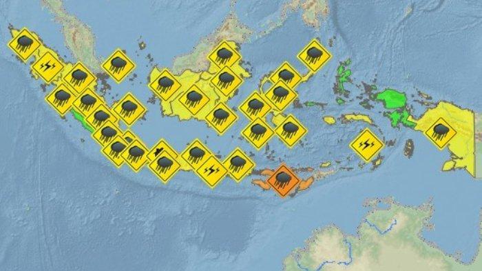 BMKG: Peringatan Dini Cuaca Ekstrem Besok Kamis 9 Januari 2020: 11 Wilayah Berpotensi Hujan Lebat