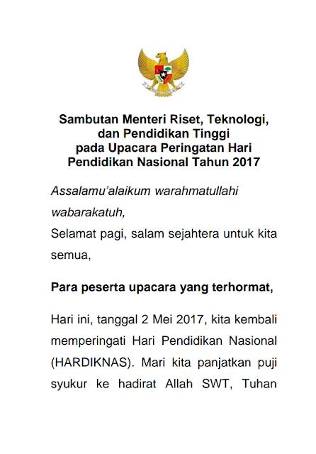 Pidato Sambutan Menristekdikti Pada Upacara Peringatan Hardiknas Tahun 2017