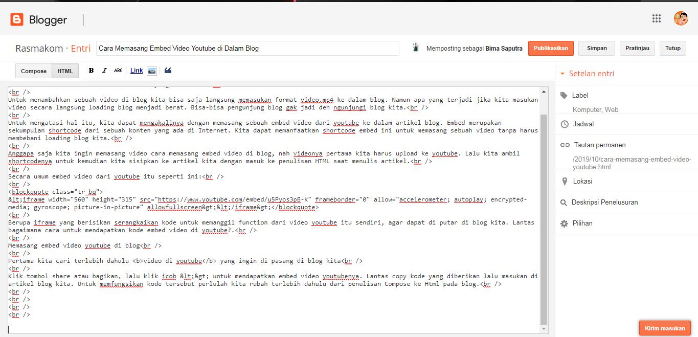cara memasang video di postingan blog