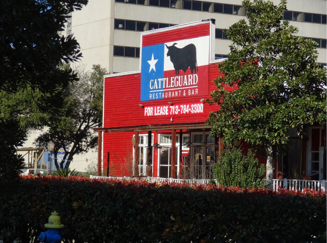 Cattleguard - closed restaurant North of Katy Freeway at Highway 6 Overpass (archival photo)
