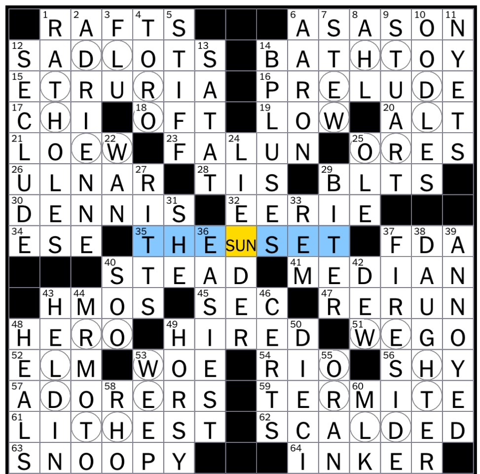 Rex parker does the nyt crossword puzzle ancient region central theme the world orbiting the sun the world indicated in the circled squares in the four quadrants of the grid orbits the sun indicated in a rebus ccuart Gallery
