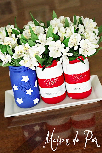 American Flag Memorial Day Mason Jars- Maison de Pax