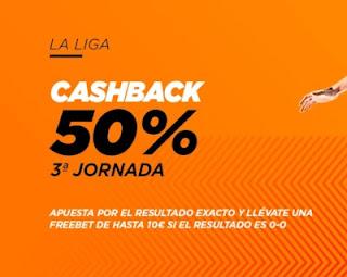 Kirolbet cashback jornada 3 Liga 26-27 septiembre 2020