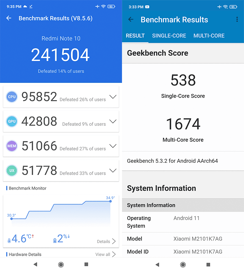 AnTuTu and GeekBench 5 Benchmark