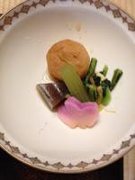 il piattino con il kakiage, il tofu fritto