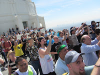 Crowd viewing Space Shuttle Endeavor from Griffith Observatory