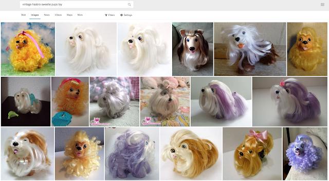 imagens dos brinquedos Sweetie Pups, os Fofi Dogs americanos, com várias cores e tipos de cachorrinhos