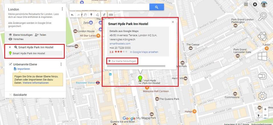 Google Maps Karte Orte zur Karte hinzufügen Screenshot