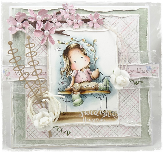 Masked Tilda Card with Sofiero Papers by Becky