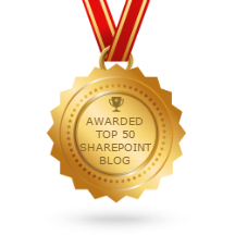 Awarded Top 50 SharePoint Blog