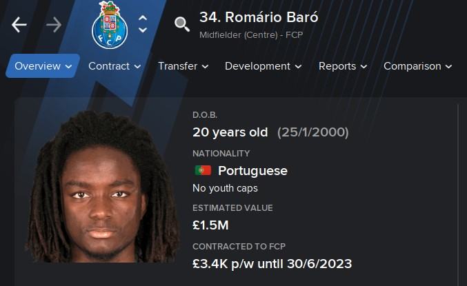 Romario Baro FM21 Football Manager 2021 Wonderkid