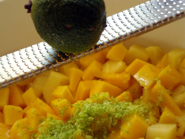 Pineapple, mango and lime zest and juice