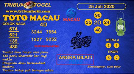 Prediksi Tribun Togel Toto Macau Sabtu 25 Juli 2020