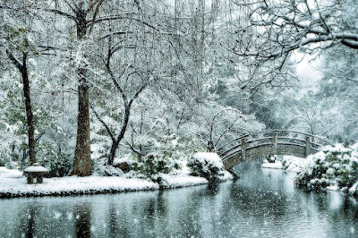 A snowy scene by a lake with an arched bridge. Japanese Garden, Ft. Worth, TX