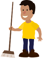 Cartoon man with a broom