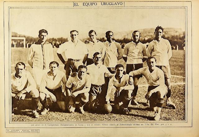 Formación de Uruguay ante Chile, amistoso disputado el 10 de diciembre de 1927