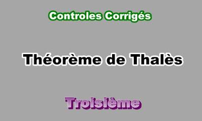 Controles Corrigés théorème de Thalès 3eme en PDF
