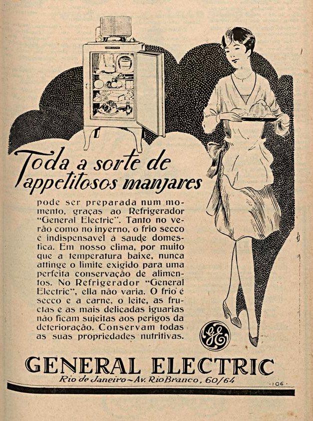 Propaganda antiga do Refrigerador General Electric veiculada em 1929