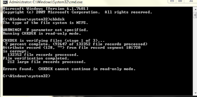 Chkdsk command for windows
