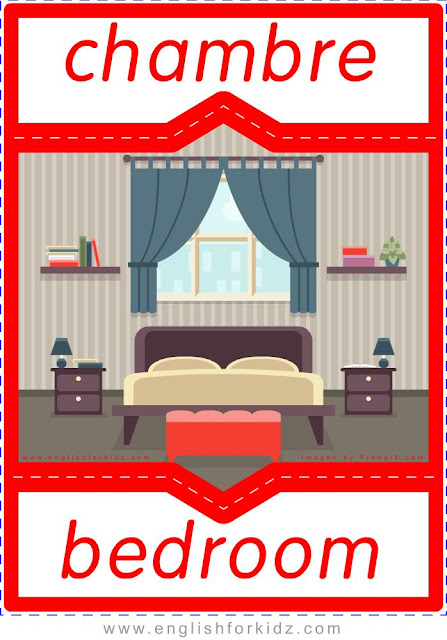 bedroom in French, chambre en anglais, English-French home and furniture flashcards
