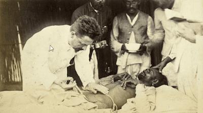 pandemic: Paul-Louis Simond injects the serum into a patient's abdomen.