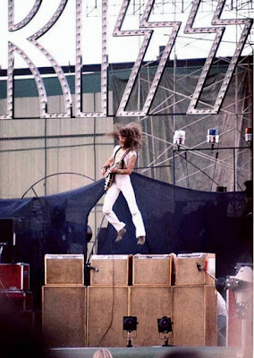 Ted Nugent jumping from the amps!!! This wasn't from this show at Giants Stadium. Looks like it was when Ted opened up for KISS back in 1976. But this was exactly what we saw that day! How fuckin' awesome is that pic!!! Fuckin' TED!
