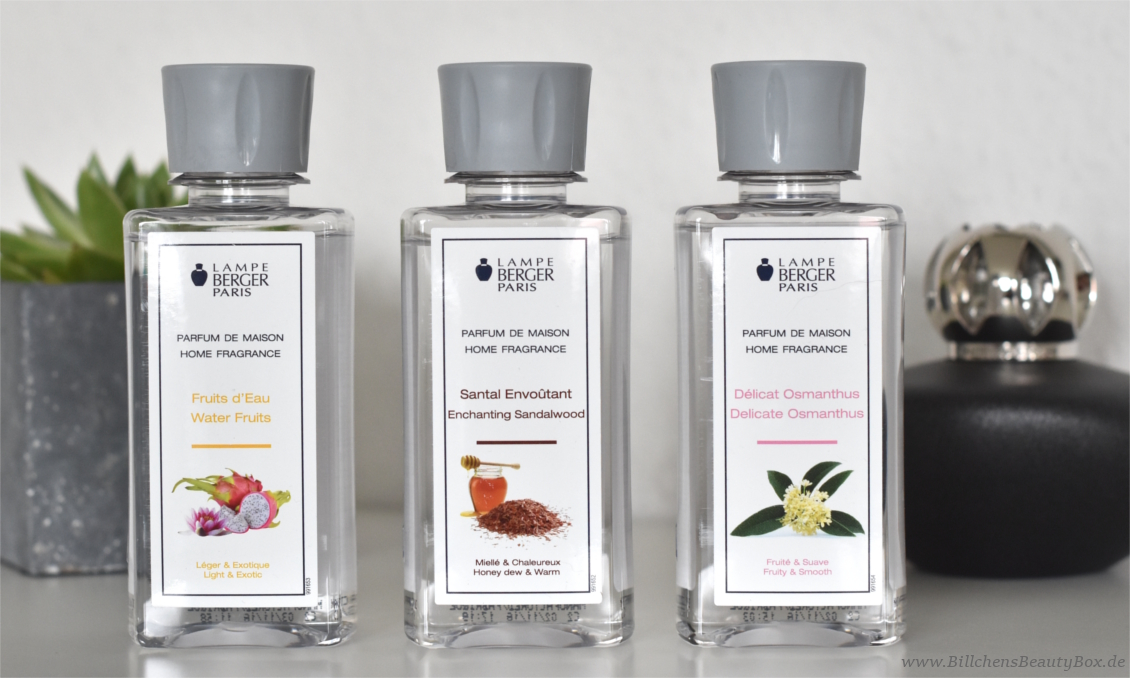 Lampe Berger - Parfum Duftbeschreibungen - Water Fruits - Enchanting Sandelwood - Delicate Osmanthus