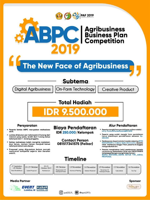 Agribusiness Business Plan Competition 2019 di Taja Oleh Himpunan Mahasiswa Keprofesian Agribisnis UNPAD