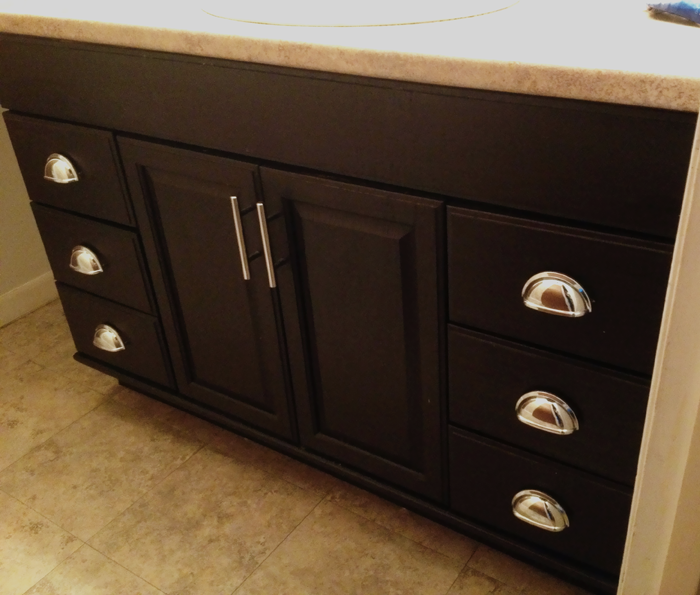 How To Stain Wood Cabinets In Kitchen: Misadventures In DIY:: Bathroom Vanity Oakness Makeover