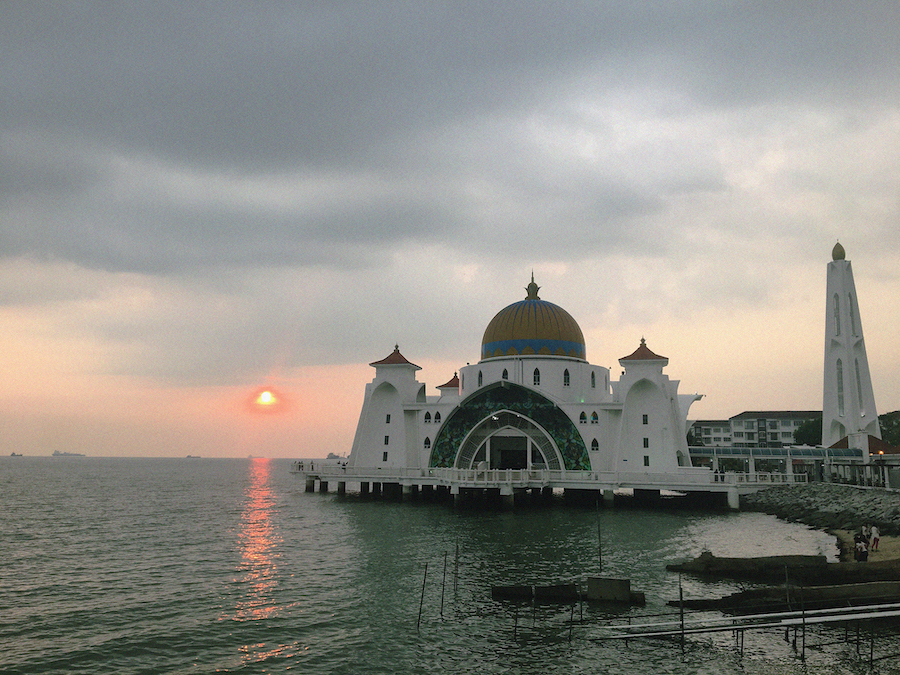 The sunset in floating mosque malacca malaysia