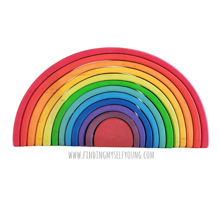 Grimms large rainbow white background