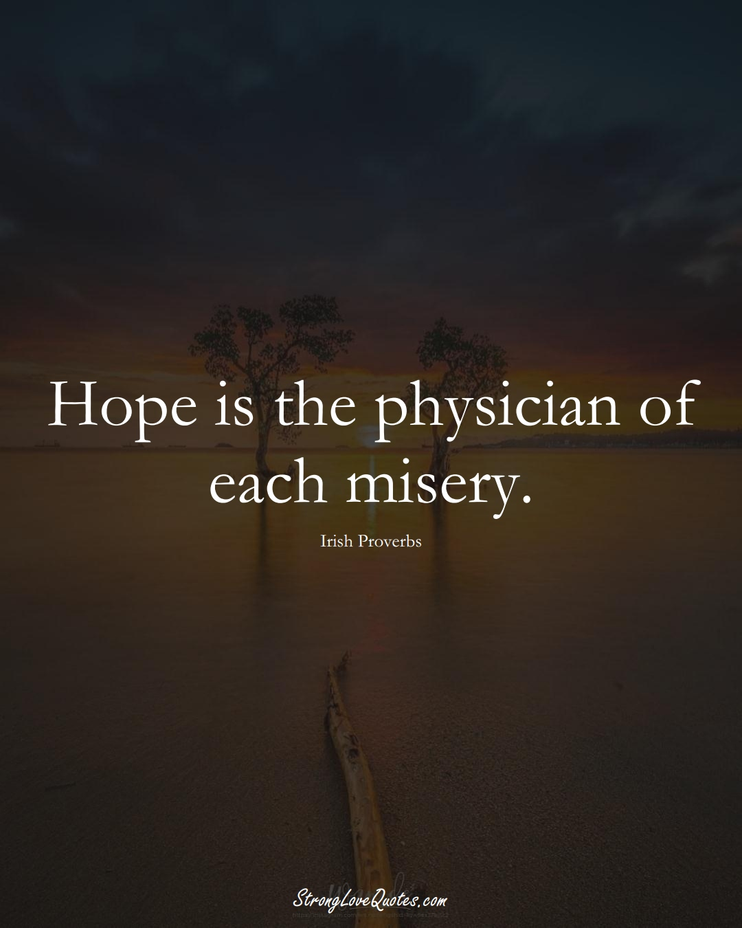 Hope is the physician of each misery. (Irish Sayings);  #EuropeanSayings
