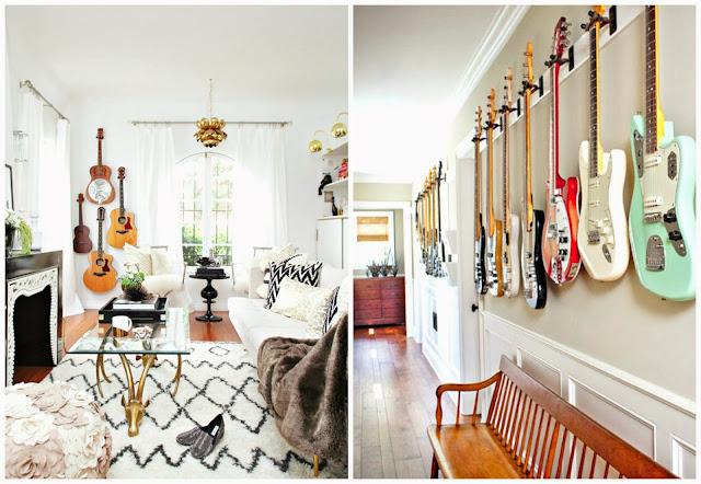 ozdoby z gitarą w mieszkaniu