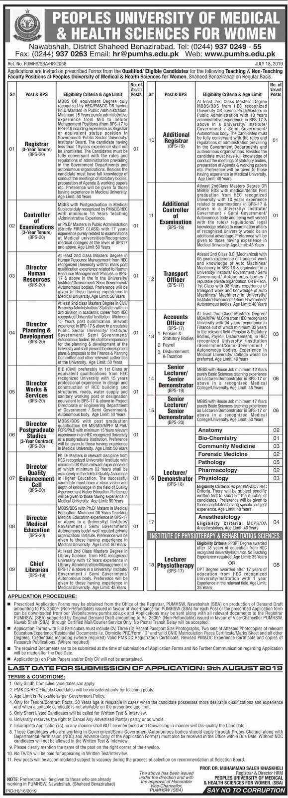 Peoples University PUMHS Shaheed Benazirabad Jobs 2019 Latest