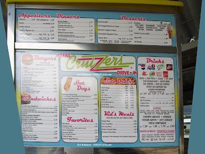 Menu for Myer's Cruizzers in Mena, Arkansas, May 2011